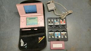 Nintendo DS Lite Pink Handheld System Console Bundle Lot w/ Games & Charger