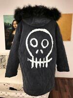 MANTEL Jacke 42 L COAT Pelz UNIKAT designer Totenkopf skull hexe magic gothik 44