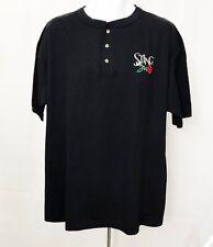 Sting T-Shirt Concert Tour Henley Jersey Rose Authentic Black sz XLarge Vintage