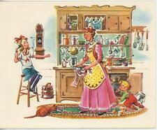 VINTAGE OLD FASHIONED KITCHEN COOK PORK CHOPS POTATO SALAD RECIPE CARD ART PRINT