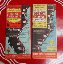 """Lot of 2 Vintage Maps """"Pines to Palms"""" New York-Miami 1947 & 1954 VGCond"""