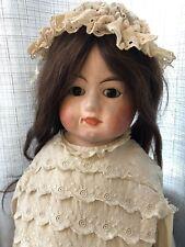Antique German All Original 31� Papier Mache Doll Straw Filled Body