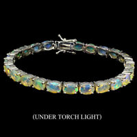 Unheated Oval Fire Opal Rainbow Flash 7x5mm 925 Sterling Silver Bracelet 7.5inch