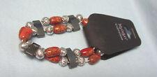 Black, and Silver Floral Design Bracelet Beaded Stretch Bracelet in Orange,