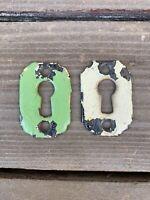 Lot(2) Antique/VTG Keyhole Covers Escutcheon Plates Chippy VTG Green & Cream F/S