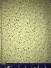 BLUE PINK TINY FLOWERS ON YELLOW COTTON FABRIC BTY