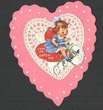 Vintage Valentines Day Card Girl Riding Old Tricycle Bike Come on CATCH ME
