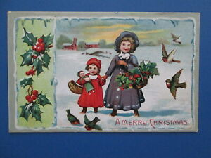 Vintage Embossed Christmas Postcard Little Girls In the Snow