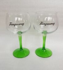 2  Stunning Tanqueray Green Stemmed Gin Balloon Glasses - NEW