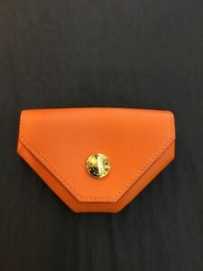 Hermes Le Van Levan Cattle Coin Purse Orange ( New Without Tags) Includes Box