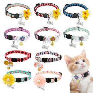 Adjustable Personalized Cat Collar with Bell ID Tag Pet Safety Nylon Necklace