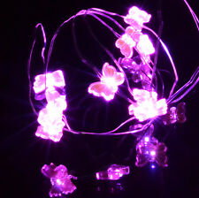 20 LED Pink or Blue Small Butterfly Fairy Lights Silver Wire String AA Battery