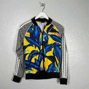 Adidas x FARM Company Size S Originals SST Track Jacket Tropical Yellow Blue