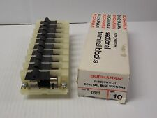 NEW LOT OF 10 BUCHANAN FUSE SWITCH DOVETAIL BASE SECTIONAL TERMINAL BLOCK 0311