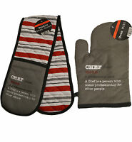oven glove Chef Grey / Red stripe reverse choose single mitt or double gloves