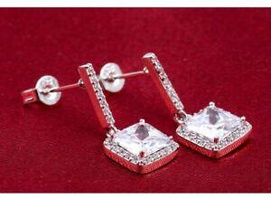 Silver Diamante Crystal Dangle Drop stud Earrings Party Wedding Women Jewellery
