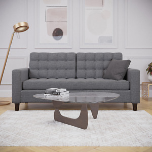 Mayview Upholstered Square Arm Sofa with Buttonless Tufting, Camel Faux Leather