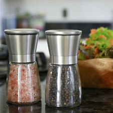Salt and Pepper Grinder Set Stainless Steel Glass Shaker Adjustable Mill Coa HU