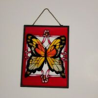 "Monarch Butterfly Stained Glass Suncatcher Framed w/ Chain 6"" x 8"""