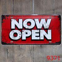 Metal Tin Sign now open Decor Bar Pub Home Vintage Retro Poster Cafe ART