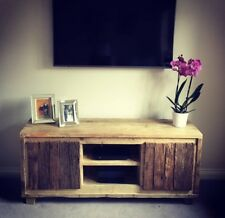 Rustic Reclaimed Scaffold Board TV Unit with Natural Hardwood Doors