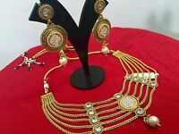 Indian Ethnic Traditional Gold Plated Bollywood Fashion Jewelry Necklace Set