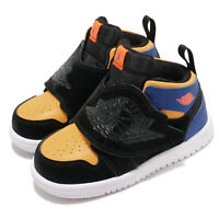Nike Sky Jordan 1 TD Black Total Orange Blue Toddler Infant Baby Shoe BQ7196-040