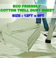 HEAVY DUTY 9FT X 12FT COTTON TWILL PROFESSIONAL DECORATING LARGE DUST SHEETS