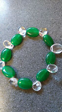 green agate&clear crystal stretchy bracelet,gemstone,oval,8 inches.