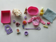 Barbie Pets and Accessories 18 Piece Lot- Cat, Dogs, Crate, Food, Leash +