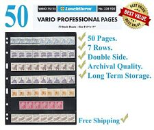 50 Lighthouse Vario 7S Stamp Stock Pages 7 Rows Double Side Archival Sheets