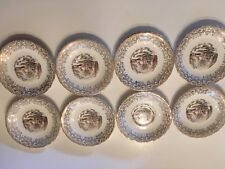 """8 Currier & Ives Royal Monach First Quality China 22kt GOLD Saucers 5 3/4"""""""