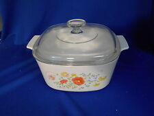 Corning WILDFLOWER 2 qt Square casserole & lid White Multi-colored flowers A-2-B