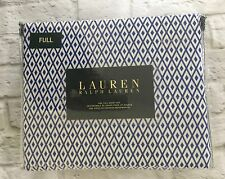 Ralph Lauren FULL Sheet Bed Set Diamonds Blue Navy & White Cotton New