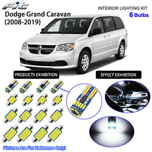 6 Bulbs LED Interior Light Kit White For 2008-2019 Dodge Grand Caravan SE & SXT