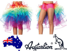 AU Halloween Adult Ladies Rainbow Skirt Tutu Rave Dance Bustle Burlesque Costume