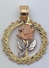 New Solid 14K Tri Color Gold Round Filigree Rose Flower Charm Pendant 1.2 grams