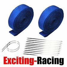 "2 Roll X 2"" 50Ft Blue Fiberglass Exhaust Header Pipe Heat Wrap Tape+20 Ties Kit"