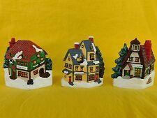 Christmas Village Candle Holders Set of Three (3) Tealight - Ceramic