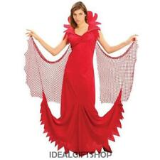 GOTHIC DEVIL RED DRESS WOMENS HALLOWEEN FANCY DRESS COSTUME