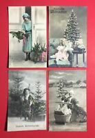 4 x color Glückwunsch Foto AK WEIHNACHTEN 1922 Frau Kinder Weihnachtsbaum( 47400