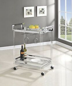 Home Bar 2-Tier Clear Acrylic and Chrome Glass Serving Cart w/ Wine Rack