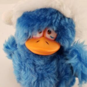Christmas Lester Looney Bird Plush Stuffed Squeaks Blue Fuzzy Duck Russ Berrie