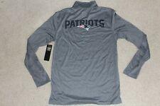 NWT Mens Sz Small NFL Team Apparel 1/2 Zip Gray T-shirt Top New England Patriots