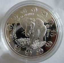 2014 Benin Elephant 1 oz Troy Ounce .999 Silver Bullion Coin - 1000 Francs