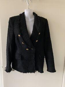 Zara Black Tweed Jacket Blazer Sz M