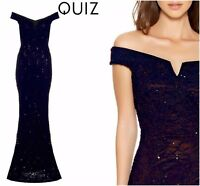ex QUIZ Navy Lace Sequin Bardot Fishtail Maxi Evening Occasion Dress