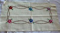 Cotton Linen Rectangle with Embroidered Flowers