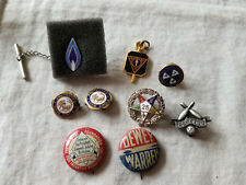 Mixed Lot Of 9 Vintage Pins Button Pins Fraternal School Golf Politics