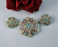 Vintage Sarah Coventry Rhinestone  Brooch PIn  Earrings Set CAT RESCUE